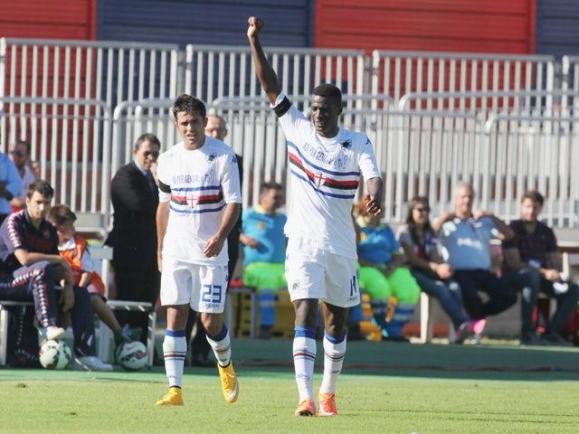 Obiang of Sampdoria celebrates the goal 0-2 during the Serie A match between Cagliari Calcio and UC Sampdoria at Stadio Sant'Elia on October 19, 2014