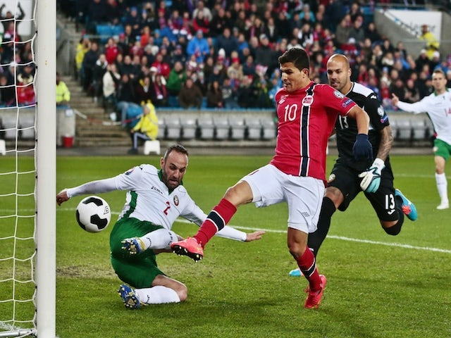 Norway's Tarik Elyounoussi scoring 1-0 during the Euro 2016 Group H qualifying football match Norway vs Bulgaria in Oslo, Norway on October 13, 2014