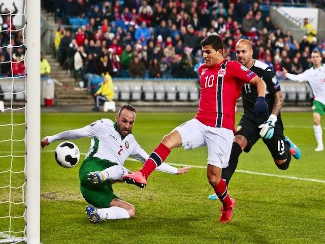 Norway's Tarik Elyounoussi scoring 1-0 during the Euro 2016 Group H qualifying football match Norway vs Bulgaria in Oslo, Norway on October 13, 2014