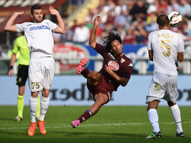Amauri of Torino FC in action during the Serie A match between Torino FC and Udinese Calcio at Stadio Olimpico di Torino on October 19, 2014