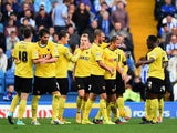 Almen Abdi of Watford is congratulated on scoring the second goal during the Sky Bet Championship match between Sheffield Wednesday and Watford at Hillsborough Stadium on October 18, 2014