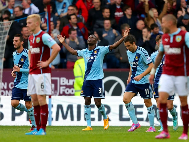 Enner Valencia of West Ham celebrates after scoring his team's second goal during the Barclays Premier League match between Burnley and West Ham United at Turf Moor on October 18, 2014