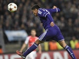 Anderlecht's midfielder from Honduras Andy Najar heads the ball to score against Arsenal during a UEFA Champions League group stage football match Anderlecht vs Arsenal at the Constant Vanden Stock stadium in Anderlecht on October 22, 2014
