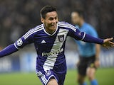 Anderlecht's midfielder from Honduras Andy Najar celebrates after scoring during a UEFA Champions League group stage football match Anderlecht vs Arsenal at the Constant Vanden Stock stadium in Anderlecht on October 22, 2014