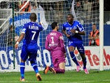 Bastia's French midfielder Christopher Maboulou celebrates after scoring a goal during the French L1 football match between Bastia (SCB) and Monaco (ASM) in Bastia, Corsica, France on October 25, 2014