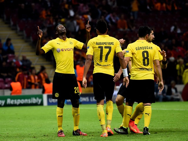 Adrian Ramos #20 of Borussia Dortmund celebrates after scoring his team's fourth goal during UEFA Champions League Group D match between Galatasaray and Borussia Dortmund at Turk Telekom Arena on October 22, 2014
