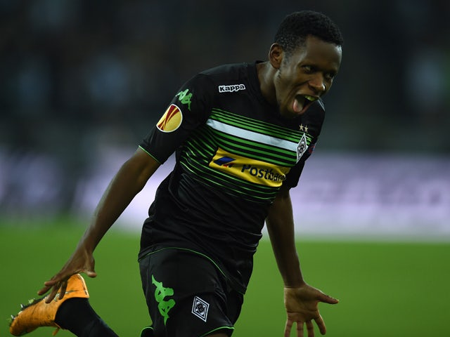 Moenchengladbach's Guinean midfielder Ibrahima Traore celebrates scoring during the first leg UEFA Europa League Group A football match VfL Borussia Monchengladbach vs Apollon Limassol FC, in Moenchengladbach, western Germany on October 23, 2014