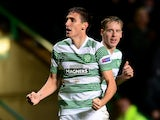 Stefan Scepovic of Celtic celebrates scoring his goal during the UEFA Europa League group D match between Celtic FC and FC Astra Giurgiu at Celtic Park on October 23, 2014