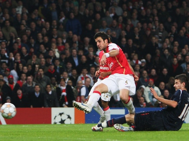 Cesc Fabregas of Arsenal shoots to score his second goal and Arsenal's sixth during the UEFA Champions League Group H match between Arsenal and Slavia Prague on October 23, 2007