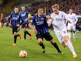 Club Brugge's Andres Francisco Silva vies for the ball with Copenhagen's Nicolai Jorgensen during the UEFA Europe League Group B football match Club Brugge vs Copenhagen on October 23, 2014