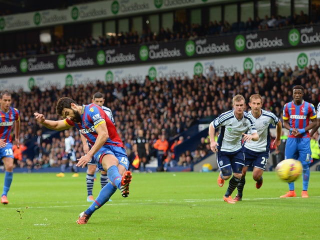 Mile Jedinak of Crystal Palace scores their second goal from the penalty spot during the Barclays Premier League match between West Bromwich Albion and Crystal Palace at The Hawthorns on October 25, 2014