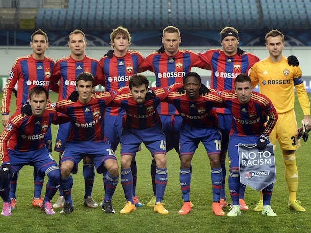 CSKA Moscow players line up ahead of the Champions League tie against Manchester City on October 21, 2014