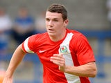 Darragh Lenihan of Blackburn Rovers during the Pre Season Friendly match between AFC Telford United v Blackburn Rovers at New Bucks Head Stadium on July 12, 2014