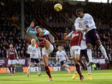Samuel Eto'o of Everton scores the opening goal during the Premier League match between Burnley and Everton at Turf Moor on October 26, 2014