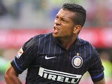 Fredy Guarin of FC Internazionale Milano celebrates his goal during the Serie A match between FC Internazionale Milano and US Sassuolo Calcio at Stadio Giuseppe Meazza on September 14, 2014