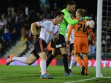 Scott Parker of Fulham celebrates his goal during the Sky Bet Championship match between Fulham and Charlton Athletic at Craven Cottage on October 24, 2014