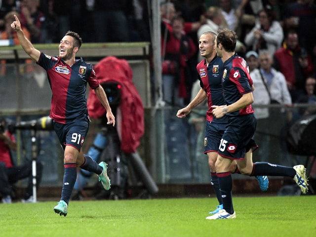 Andrea Bertolacci of Genoa CFC celebrates after scoring a goal during the Serie A match between Genoa CFC and Empoli FC at Stadio Luigi Ferraris on October 20, 2014