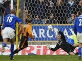 Ian Walker the Leicester goalkeeper fails to keep out a penalty by Colin Cameron of Wolves during the FA Barclaycard Premiership match on October 25, 2003