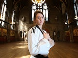 Taekwondo Olympic gold medallist Jade Jones poses ahead of the WTF World Taekwondo Grand Prix in Manchester, England on September 10, 2014