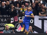 Arturo Vidal of Juventus celebrates after scoring the opening goal during the Serie A match between Juventus FC and US Citta di Palermo at Juventus Arena on October 26, 2014