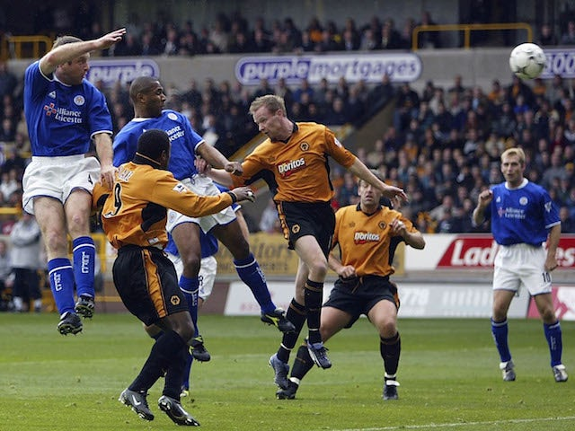 Les Ferdinand of Leicester heads in the opening goal during the FA Barclaycard Premiership match against Wolverhampton Wanderers on October 25, 2003