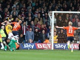 Luke Guttridge of Luton Town scores his sides goal during the Sky Bet League Two match between Luton Town and Northampton Town at Kenilworth Road on October 25, 2014