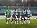 Manchester City players pose for a photo before the Champions League match against CSKA Moscow on October 21, 2014