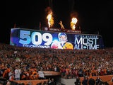 A digital display commemorates the NFL record 509th career passing touchdown by quarterback Peyton Manning #18 of the Denver Broncos in the second quarter of a game between the Denver Broncos and the San Francisco 49ers at Sports Authority Field at Mile H