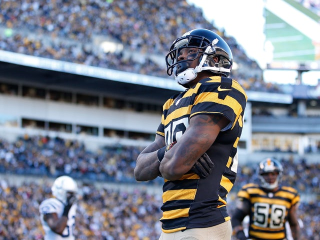 Martavis Bryant #10 of the Pittsburgh Steelers celebrates his second quarter touchdown against the Indianapolis Colts at Heinz Field on October 26, 2014