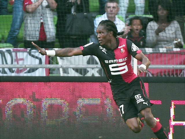 Rennes' Central African forward Habib Habibou celebrates after scoring a goal during the French L1 football match between Rennes (SRFC) and Lille (LOSC) on October 26, 2014