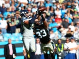 Luke Willson #82 of the Seattle Seahawks catches the game winning touchdown against the Carolina Panthers during the game at Bank of America Stadium on October 26, 2014