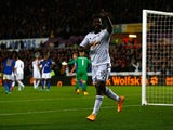 Wilfried Bony of Swansea City celebrates scoring their second goal during the Barclays Premier League match between Swansea City and Leicester City at Liberty Stadium on October 25, 2014