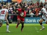 Toulon's English wing Delon Armitage runs with the ball during the European Rugby Champions Cup match between Ulster and Toulon at Kingspan Stadium in Belfast, Northern Ireland, on October 25, 2014