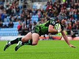 Adam Hughes of Exeter Chiefs goes over for his side's first try during the LV= Cup match between Exeter Chiefs and Gloucester at Sandy Park on November 1, 2014