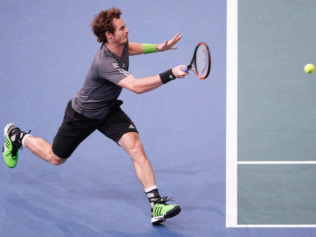 Andy Murray of Great Britain in action against Julien Benneteau of France during day 3 of the BNP Paribas Masters on October 29, 2014