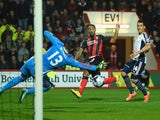 Bournemouth player Callum Wilson scores the second goal during the Capital One Cup Fourth Round match against West Brom on October 28, 2014