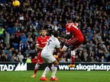 Ecuele Manga of Cardiff scores his team's first goal of the game during the Sky Bet Championship match against Leeds on November 1, 2014