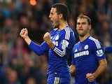 Eden Hazard of Chelsea celebrates his goal during the Barclays Premier League match between Chelsea and Queens Park Rangers at Stamford Bridge on November 1, 2014