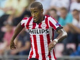 Luciano Narsingh of PSV Eindhoven in action during the UEFA Europa League match between PSV Eindhoven and Estoril Praia at the Philips Stadium on September 18, 2014