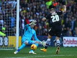 Matej Vydra of Watford scores the teams first goal of the game during the Sky Bet Championship match between Watford and Millwall at Vicarage Road on November 01, 2014