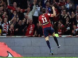 Lille's Swiss forward Michael Frey celebrates after scoring a goal during the French first division L1 football match against AS Saint-Etienne on November 1, 2014