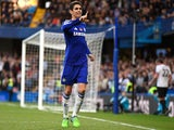 Oscar of Chelsea celebrates scoring the opening goal during the Barclays Premier League match between Chelsea and Queens Park Rangers at Stamford Bridge on November 1, 2014