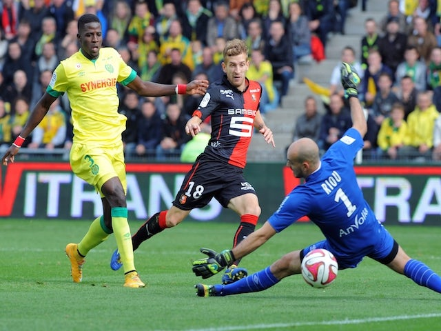 Pedro Enrique � scores during the French L1 football match between Nantes and Rennes on November 2, 2014