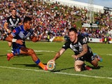Shaun Kenny-Dowall of New Zealand dives over to score a try during the Four Nations match between the New Zealand Kiwis and Samoa at Toll Stadium on November 1, 2014