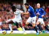 Wilfried Bony of Swansea City is challenged by Gareth Barry of Everton during the Barclays Premier League match on November 1, 2014