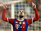 Bayern Munich's French midfielder Franck Ribery celebrates scoring during the UEFA Champions League Group E second-leg football match FC Bayern Munich vs AS Roma in Munich, southern Germany, on November 5, 2014