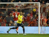 Andre Gray of Brentford celebrates scoring their second goal during the Sky Bet Championship match between Nottingham Forest and Brentford at the City Ground on November 5, 2014