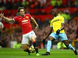 Daley Blind of Manchester United competes with Yannick Bolasie of Crystal Palace during the Barclays Premier League match on November 8, 2014