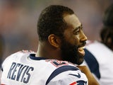 Darrelle Revis #24 of the New England Patriots reacts on the sideline in the fourth quarter against Carolina Panthers in a preseason game at Gillette Stadium on August 22, 2014