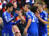 Diego Costa of Chelsea celebrates scoring their second goal with John Terry of Chelsea during the Barclays Premier League match on November 8, 2014
